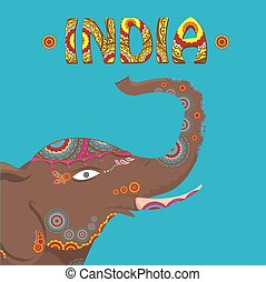 vector indian elephant with color pattern india travel...