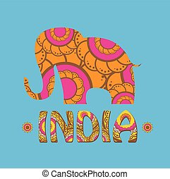 vector indian elephant with color pattern.