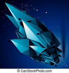 Vector digital 3d abstraction, lattice geometric polygonal...