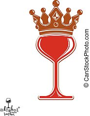 Sophisticated luxury wineglass with golden imperial crown....