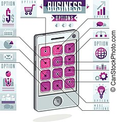 Creative infographics concept, cell phone, smatphone options...
