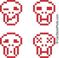 Set of vector retro signs made in pixel art style. Human heads, geometric pixilated symbols.
