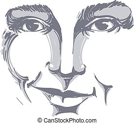 Vector drawing of distrustful woman, face features. Black...
