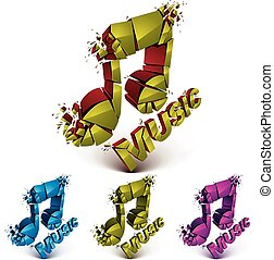 Set of 3d vector shattered musical notes with music word Art...