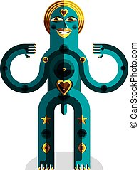 Meditation theme vector illustration, drawing of a creepy creature made in modernistic style. Spiritual idol created in cubism style.