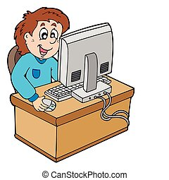 Cartoon boy working with computer - vector illustration.