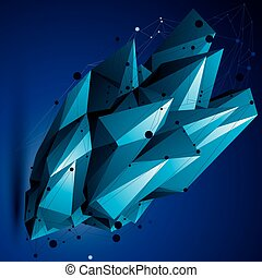 Complicated abstract colorful 3D shape, vector digital...