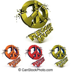 Green, red and orange 3d vector peace signs collection...