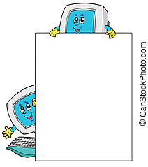 Blank frame with two computers - vector illustration
