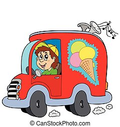Cartoon ice cream man in car - vector illustration.