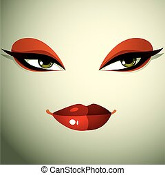 Emotional expression on the face of a cute girl. Beautiful sexy and tricky woman with a modern makeup.