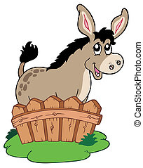 Cartoon donkey behind fence - vector illustration.