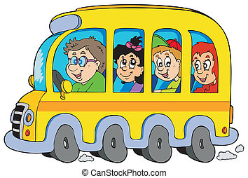Cartoon school bus with kids - vector illustration