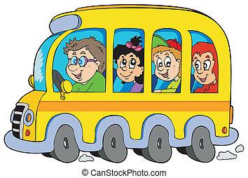 caricatura, escola, autocarro, crianças