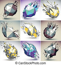 Collection of 3d vector digital wireframe colorful objects broken into different particles, geometric polygonal structures with lines mesh. Low poly shattered shapes, fractal forms with thread.