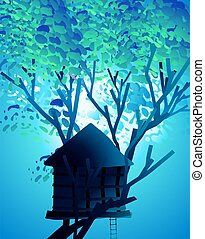 Tree hut - 	Illustration of tree hut in blue background