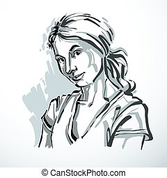 Vector monochrome portrait of attractive dreamy woman,...
