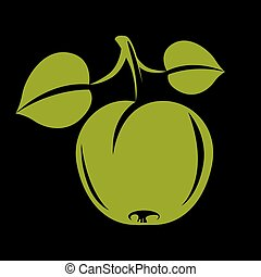 Single simple vector apple with green leaves, ripe sweet fruit illustration. Healthy and organic food, harvest season symbol.