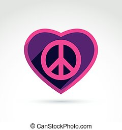 Peace and love theme - antiwar and love vector icons, loving...