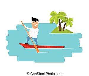 Vacation in Tropics Concept Vector Illustration