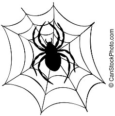 Silhouette of spider in web - vector illustration