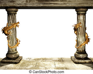 Columns and dragons - Frame with two medieval columns and...
