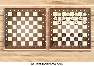 Vector set of chess boards on wooden background checkers or...
