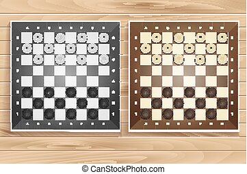 Vector set of chess boards on wooden background. checkers or...
