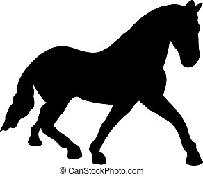black horse silhouette. Illustration of animal