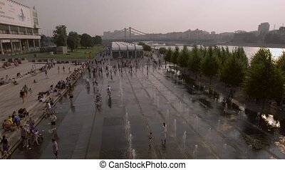 Muzeon park, fountains on the embankment of the Moscow River...