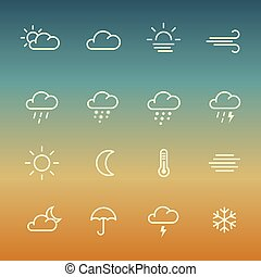 Lines weather forcast Icon set on gradient background. -...