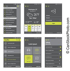 Green buttons set of mobile user interface design. - Vector...