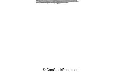grey paint pouring on white background - close-up view of...