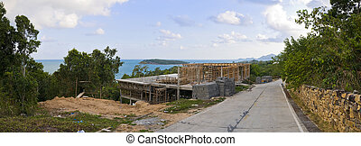 incomplete house with sea view - partially constructed house...