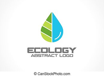 Abstract logo for business company. Eco nature, spa, aqua Logotype idea. Water drop and leaf, environment, natural liquid, save concept. Colorful Vector flat icon