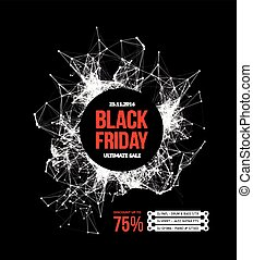 Black friday sale Vector illustration on black background