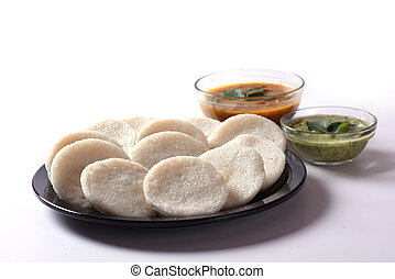 Idli with Sambar and coconut chutney, Indian Dish : south...