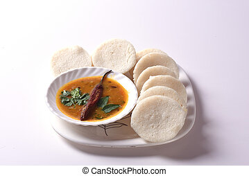 Idli with Sambar and coconut chutney, Indian Dish : south...