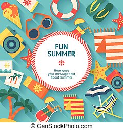 Beach Vacation Flat Poster - Colorful poster with elements...
