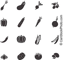 Vegetables Sillhouette Isolated  Icon Flat Set