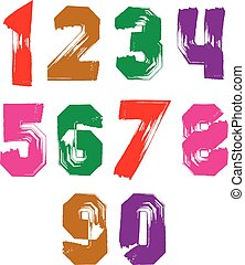 Bright hand painted daub numerals, collection of acrylic...