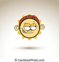 Vector hand drawn cartoon skeptic boy. Web avatar theme...