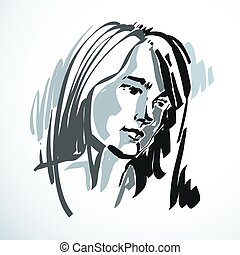 Silhouette of beautiful tender woman, graphic vector...