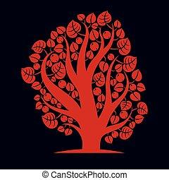 Art creative illustration of tree, stylized eco symbol....