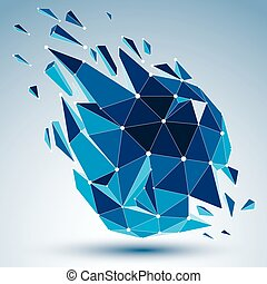 Vector dimensional wireframe luminescent object with blue...