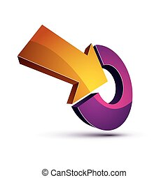 3d abstract vector symbol with an arrow pointing into target...