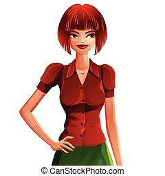 Attractive white-skin woman wearing an elegant blouse, upper body vector portrait. Colorful drawing of cute slender Caucasian girl with contemporary hairstyle and holding her hand on a waist.