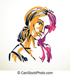 Vector drawing of beautiful tender woman, portrait in minimal style. Colorful illustration, emotional expressions of nice lady.