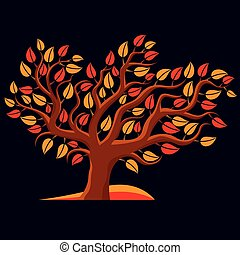 Art illustration of autumn branchy tree, stylized ecology...