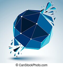 3d vector low poly object with blue connected lines and...